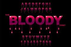 Arte de los descensos Arte sangriento Arte del atasco Vector de la fuente intr?pida moderna y del alfabeto stock de ilustración