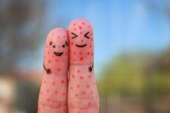 Arte de los fingeres de pares con la piel del problema Fotos de archivo