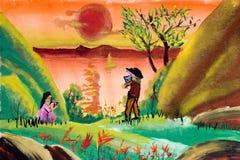 Arte de los niños - campo Foto de archivo