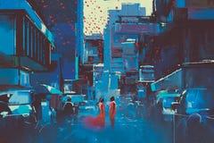 Arte de los pares del amor en ciudad azul ilustración del vector