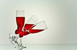 Arte de los vidrios de vino fotografía de archivo