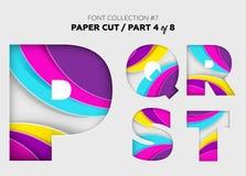 Arte de papel cinzelada, projeto da fonte Letras 3D bonitas Crafted com Imagem de Stock Royalty Free