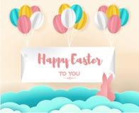 Arte de papel da Páscoa feliz que penduram com balão colorido, arte do vetor, ilustração e origâmi Fotografia de Stock