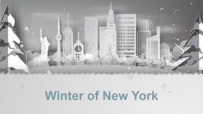 Arte de papel del invierno del viaje y de la estación de la nieve del landm famoso Imagenes de archivo