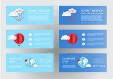 Arte de papel dos balões, ideia de papel da arte, arte do vetor e ilustração Balões com nuvens e bandeira para seu texto Fotografia de Stock