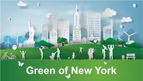 Arte de papel de la familia feliz con las señales verdes del parque en Nueva York Fotos de archivo