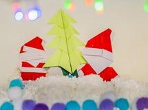 Arte de papel de la Navidad del árbol de Navidad del clausand de Papá Noel Fotografía de archivo