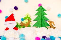 Arte de papel de la Navidad del árbol de Papá Noel y de Navidad Foto de archivo