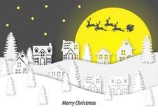 Arte de papel de la opinión del paisaje de la ciudad de la nieve en vector del festival de la Navidad libre illustration