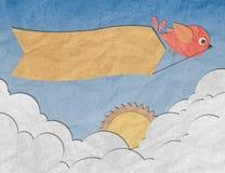 Arte de papel, pájaro con la escritura de la etiqueta en blanco en el cielo azul Fotografía de archivo libre de regalías