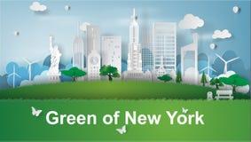 Arte de papel de señales verdes de New York City, América, vector Foto de archivo libre de regalías