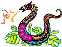 Arte de respiración de la bola de fuego de la serpiente del estilo chino Imágenes de archivo libres de regalías