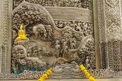 Arte de talla de plata del estilo tailandés en la pared del templo, Wat Srisuphan, Ch Imagen de archivo