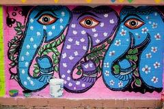 Arte de três elephants_Wall para as festividades de anos novos de Bangla Foto de Stock Royalty Free