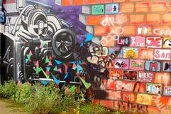Arte dei graffiti sulla parete Fotografia Stock
