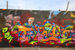 Arte dei graffiti a Williamsburg orientale a Brooklyn Fotografie Stock Libere da Diritti
