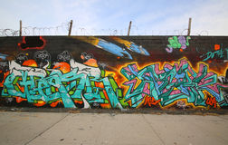 Arte dei graffiti a Williamsburg orientale a Brooklyn Immagini Stock Libere da Diritti