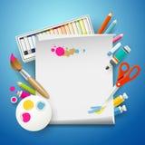 Arte dei rifornimenti di scuola e Libro Bianco vuoto illustrazione di stock