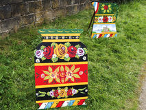 Arte del canale delle rose e dei castelli alla celebrazione di 200 anni del canale di Leeds Liverpool a Burnley Lancashire Immagine Stock Libera da Diritti