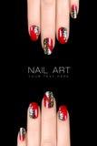 Arte del clavo del leopardo Etiquetas engomadas del esmalte de uñas con el estampado de animales Fotos de archivo libres de regalías
