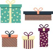 Arte del contenitore di regalo con i cuori decorativi illustrazione vettoriale