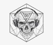 Arte del cranio di Dotwork illustrazione vettoriale