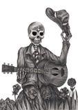 Arte del cráneo que juega el día de la guitarra de los muertos Foto de archivo