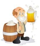 Hombre que come cerveza - personaje de dibujos animados - ejemplo del vector Imagen de archivo libre de regalías