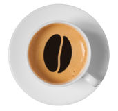 Arte del dibujo del grano de café en espuma del café en taza Fotos de archivo