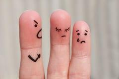 Arte del dito della famiglia durante il litigio immagini stock libere da diritti