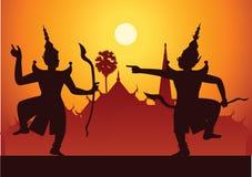 Arte del drama de la danza tradicional de clásico tailandés enmascarado Tailandés ancien ilustración del vector