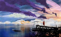 Arte del ejemplo de Digitaces que pinta a un hombre que se coloca en el abandone stock de ilustración