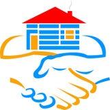 Logotipo del constructor del apretón de manos Foto de archivo libre de regalías