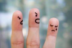 Arte del finger de la familia durante pelea Imagen de archivo