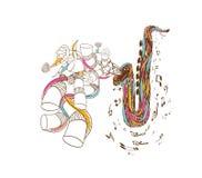 Arte del garabato de Jazz Saxophone Fotos de archivo libres de regalías