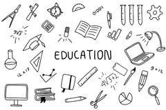 Arte del garabato de la educación con la bandera del texto en el centro con color blanco y negro stock de ilustración