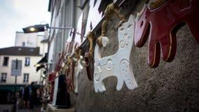 Arte del gato en Le Montmartre, París foto de archivo