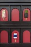 Arte del gelato della decorazione sulla parete di legno Immagini Stock Libere da Diritti