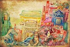 Arte del Giappone e illustartion del fondo della cultura Immagini Stock Libere da Diritti