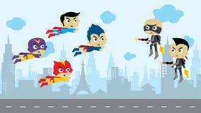 arte del héroe del tema del activo del juego del super héroe de la historieta ilustración del vector