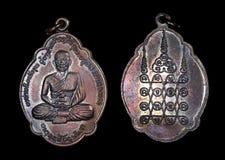 Arte del Laos ed oggetto d'antiquariato, Luang Phu Somdet Lun, monaco Coin Amulet del Laos Fotografia Stock