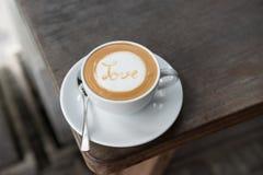 ARTE del LATTE del caffè di AMORE Fotografia Stock
