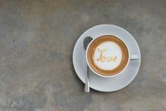 ARTE del LATTE del caffè di AMORE Fotografie Stock
