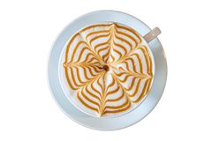 Arte del latte della tazza di caffè isolata Fotografia Stock Libera da Diritti