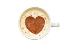 Arte del Latte - tazza di caffè isolata con un cuore Immagine Stock Libera da Diritti