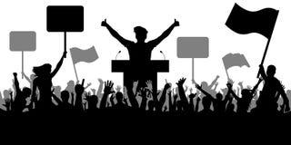 Arte del oratorio, política Muchedumbre de gente que demuestra la silueta demostración stock de ilustración