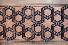 Arte del otomano con los modelos geométricos en la madera Imágenes de archivo libres de regalías