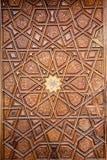 Arte del otomano con los modelos geométricos en la madera Imagen de archivo
