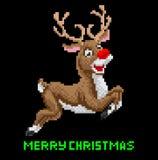 Arte del pixel de la Navidad del reno de Santas Foto de archivo libre de regalías