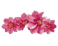 Arte del pixel dell'illustrazione dei fiori isolata su fondo bianco illustrazione vettoriale
